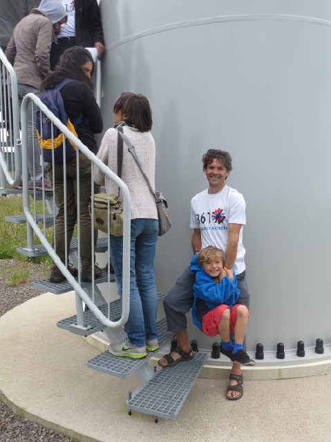 Thomas and Felix queuing to look inside the turbine tower