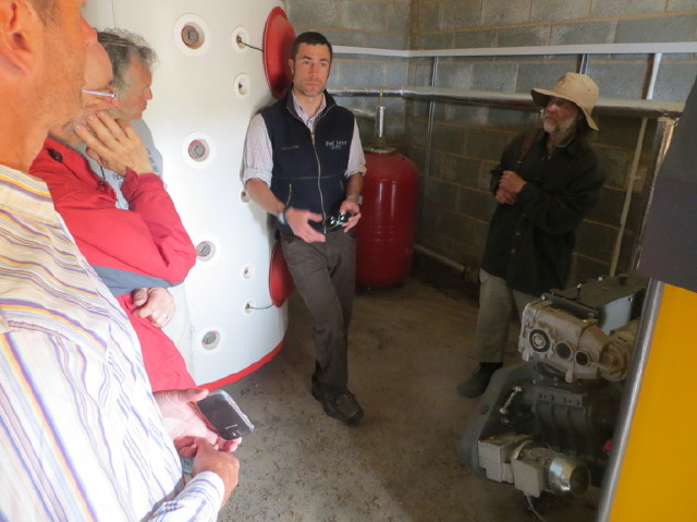 Learning about a 90kW biomass woodchip boiler on an Exmoor farm